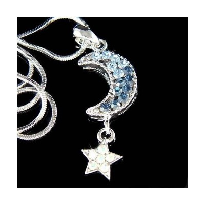 ネックレス インポート スワロフスキ クリスタル ジュエリー ~Blue CRESCENT MOON Wish STAR made with Swarovski Crystal Dream Necklace Jewelry