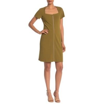 ナネットレポー レディース ワンピース トップス Square Neck Shift Dress OLIVE