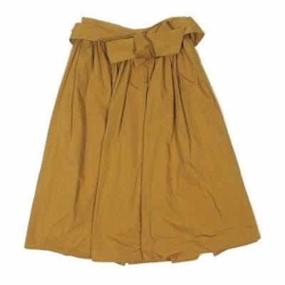 【中古】ノーリーズ Nolley's フレア スカート ひざ丈 ベルト付き コットン ポリエステル 34 キャメル レディース