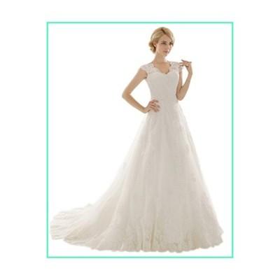 Snowskite Womens A-line V Neck Vintage Lace Wedding Dress 0 Ivory並行輸入品