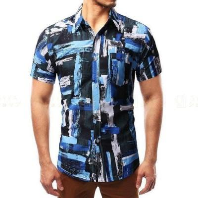 アロハシャツ メンズ 半袖 ハワイアンシャツ シャツ アロハシャツ ビーチ 祭り M L XL 2XL メンズ用 アロハシャツ 夏春 ブルー