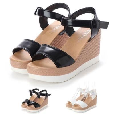 サンダルウェッジソールサンダル厚底プラットフォームジュート風軽量アンクルストラップ靴シューズレディース