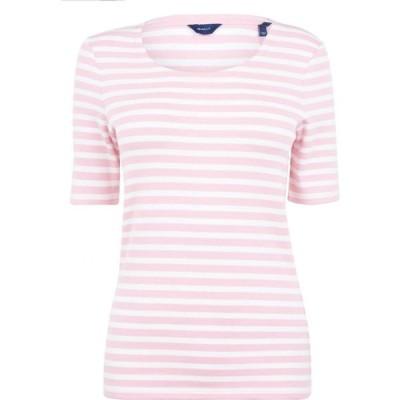 ガント Gant レディース Tシャツ トップス Stripe T Shirt Preppy Pink