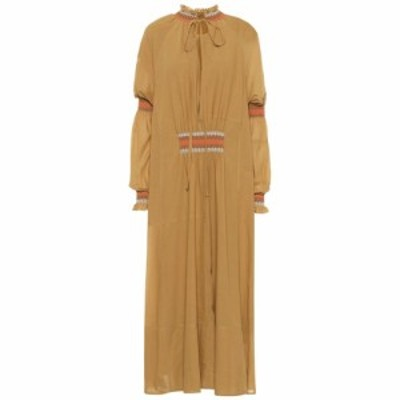 ロエベ Loewe レディース ワンピース ミドル丈 ワンピース・ドレス Cotton-blend midi dress Mustard