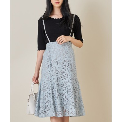 (tocco closet/トッコクローゼット)取り外し可能なサスペンダー付きフラワーレーススカート/レディース GRAYSH BLUE