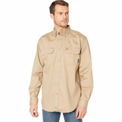 アリアト Ariat メンズ トップス FR AC Long Sleeve Work Shirt Khaki
