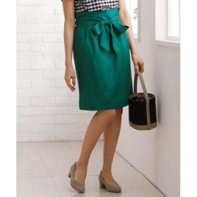 スカート ひざ丈 大きいサイズ レディース リボン付き カラー  グリーン/ネイビー/ラベンダー 8L/10L ニッセン