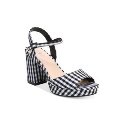 レディース 靴 ヒール パンプス Bar III Womens Callista Fabric Open Toe Ankle Strap Classic Gingham Size 6.5