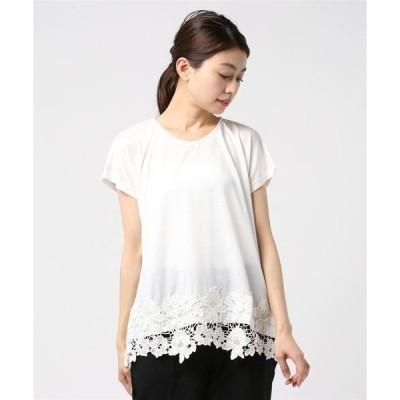 tシャツ Tシャツ 裾フラワーレースプルオーバー
