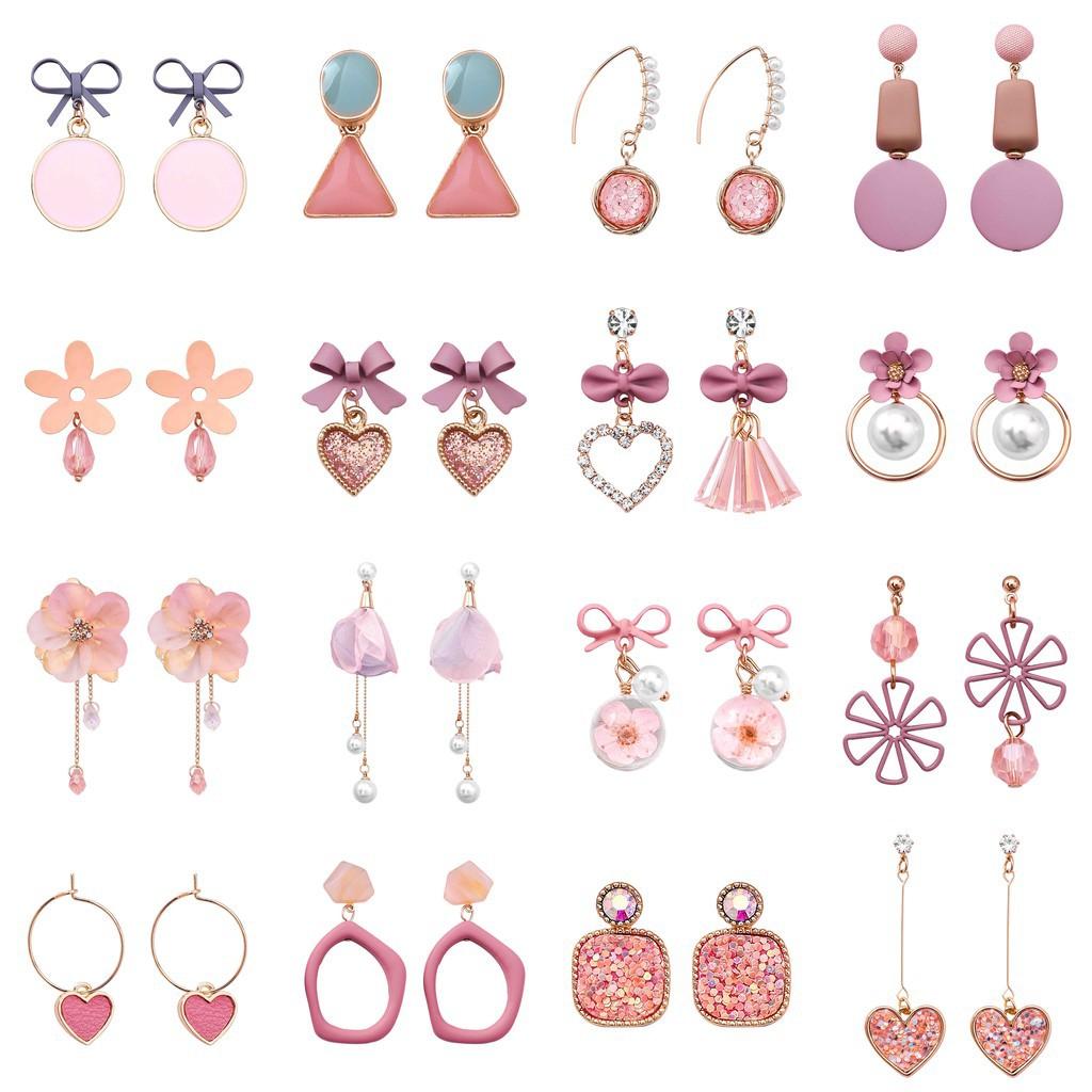 韓版時尚粉色系耳環 氣質少女甜美風格耳飾 網紅流行時尚小飾品