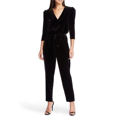 ワンステート レディース ワンピース トップス Velvet V-Neck 3/4 Sleeve Tie Waist Straight Leg Jumpsuit Rich Black