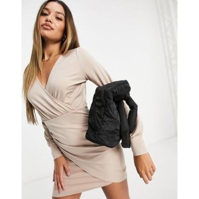 アイビーレベル レディース ワンピース トップス Ivyrevel drape detail dress in beige Beige