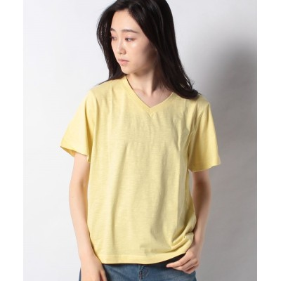 【オフプライス イーシー】 VネックTシャツ レディース LightYellow M offprice.ec