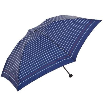 レディース セブンプレミアム <KiREi>軽量ミニボーダー傘 ネイビー 50cm