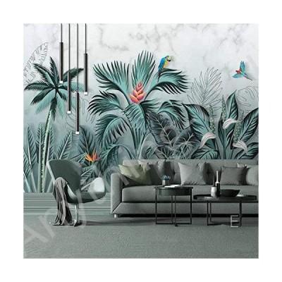 新品 Afashiony Wall Wallpaper Hand Painted Tropical Rainforest Plants Leaves Photo Murals Living Room Study Dining Room Home Decor Wallpaper-400Cm