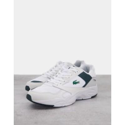 ラコステ メンズ スニーカー シューズ Lacoste storm 96 lo sneakers in white green White