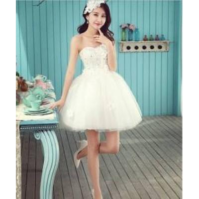 ドレス ワンピース ミニ丈 ノースリーブ レース ワンショルダー ホワイト 20代 上品 きれいめ エレガント 春夏 結婚式 お呼ばれ a611