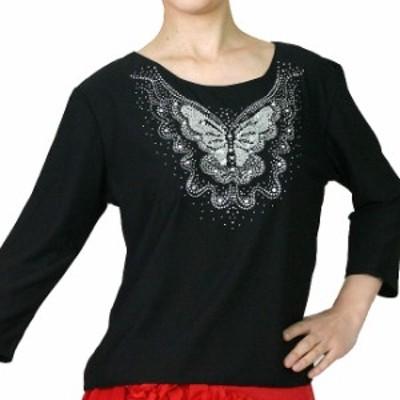 スパンコール伸縮Tシャツ 七分袖 黒 L-LL ダンス練習着に