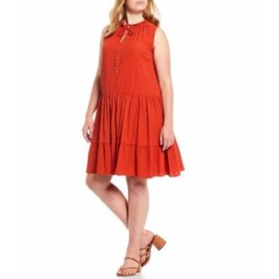 カルバンクライン レディース ワンピース トップス Plus Size Sleeveless Tie Neck Tiered Swing Dress Spicy Orange