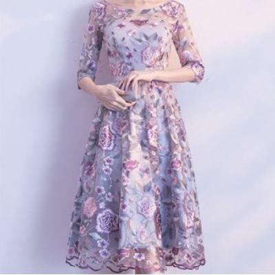 新作 パーティードレス ワンピース 2タイプ オーガンジー 透け感 レース 刺繍  花柄 結婚式 二次会 お呼ばれ 同窓会 可愛い