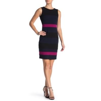 トミー ヒルフィガー レディース ワンピース トップス Scuba Crepe Colorblock Dress BLACK/SKY CAPTAIN/MAGENTA