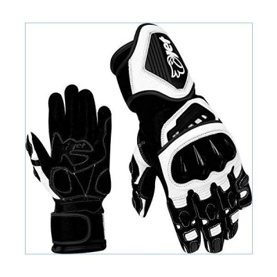 JET Motorcycle Gloves Premium Full Leather Gauntlet Race Hard Knuckle Gloves (Medium, Black/White)並行輸入品