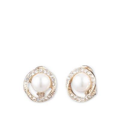 アンクライン レディース ピアス・イヤリング アクセサリー Gold Tone and White Pearl with Crystal Halo Button EZ Comfort Clip Earrings