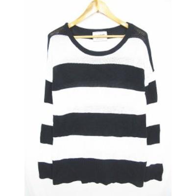【中古】DEUXIEME CLASSE ニット セーター 長袖 透かし編み ボーダー コットン ブラック ホワイト yn0229 レディース