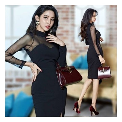 大きいサイズ Vネック タイ 大きいサイズ パーティードレス ブラックドレス 膝丈 大きいサイズ ワンピース 送料無料 長袖 食事会 ドレス