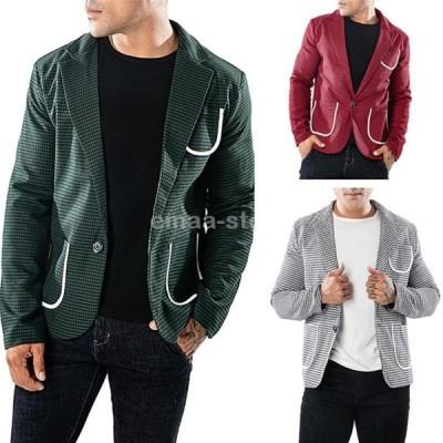 テーラードジャケット ジャケット メンズ テーラード スーツ 1つボタン 千鳥 長袖 紳士用 アウター jacket 春秋