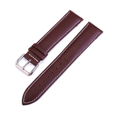 腕時計 (ラグ幅 20mm) レザー 革ストラップ ベルト / こげ茶色 白ステッチ (ダークブラウン )ステンレスバックル付 送料無料