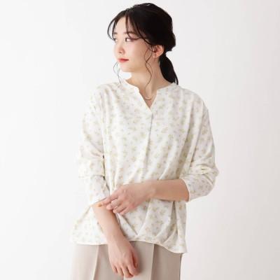シューラルー SHOO-LA-RUE 【2点セット】ネックレス付き小花柄ブラウス (オフホワイト)