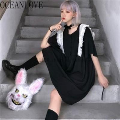 レディースファッション OCEANLOVE夏Vestidos原宿ゴシックヴィンテージフリル緩い女性のドレス2020ジャパンスタイル
