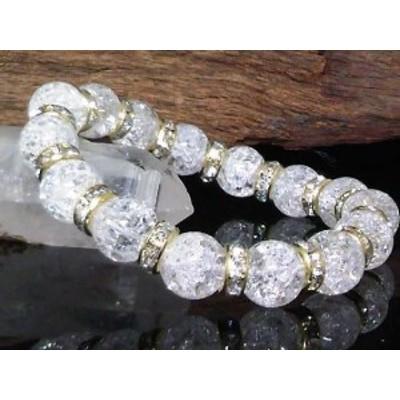 10ミリ爆裂水晶クラック水晶金ロンデル数珠
