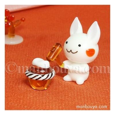 ガラス細工 正月 うさぎ 飾り グラススクエア ウサギ 餅つき メール便発送可