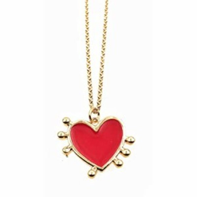 LESLIE BOULES Enamel Red Heart Gold Plated Pendant Necklace for Women Gold Filled Chain