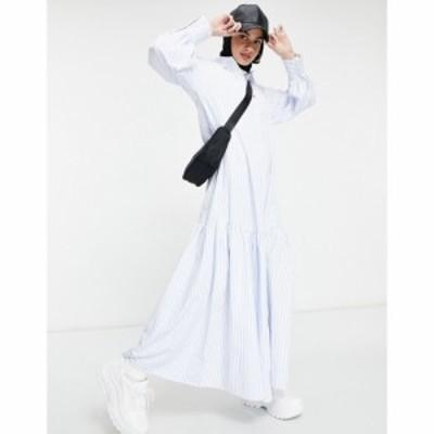 エイソス ASOS DESIGN レディース ワンピース マキシ丈 シャツワンピース ワンピース・ドレス stripe maxi shirt dress with pephem ブル