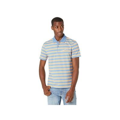 ラコステ Short Sleeve Striped Jersey Polo with Script on Left Chest メンズ シャツ トップス Turquin Blue/Lantern Orange/Ledge