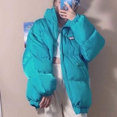 ダウン コットンダウン ジャケット アウター ブルゾン ブルー ターコイズ ターコイズブルー 青 ビビット ベルベット ベロア 水色 フリー