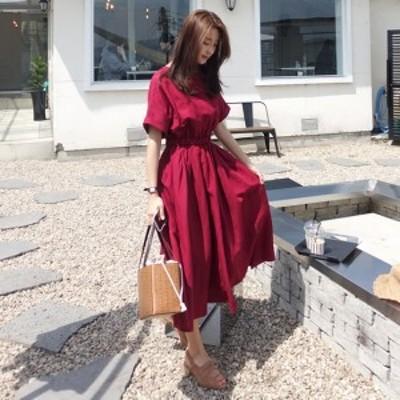 赤ワンピース 韓国 ファッション レディース ロングワンピース 夏 半袖 フレアワンピース シャーリングワンピ ワインレッド クルーネック