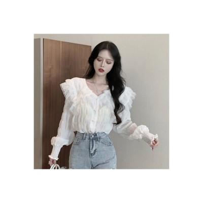【送料無料】秋 レディース 韓国風 ファッション 西洋風 長袖シャツ 心 機 パール ブ | 364331_A63659-9414597