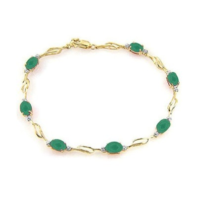 Galaxy Gold 14k Solid Gold Tennis Bracelet with Natural Emeralds & Natural Diamonds