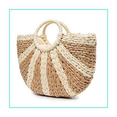 """【新品】Summer Beach Bag, JOSEKO Womens Straw Handbag Paper Light Summer Shoulder Bag for Beach Travel and Everyday Use Khaki 17.23""""x1.18""""x13.39""""9"""