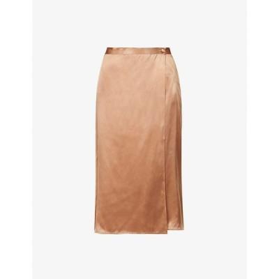 リフォーメーション REFORMATION レディース ひざ丈スカート ラップスカート スカート Jones wrap-over silk-satin midi skirt BUFF