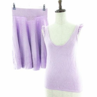 【中古】デイシー deicy me&me couture セットアップ キャミソール スカート ひざ丈 ニット 無地 F 紫 レディース