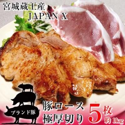 豚ロース とんかつ ステーキ 極厚切り 5枚 約1kg 豚肉 ポーク 国産 蔵王牧場 JAPAN X