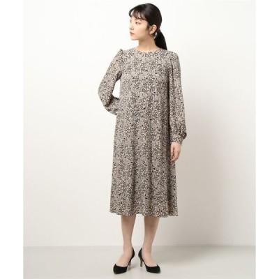 ドレス 【chaco】リーフプリントワンピース