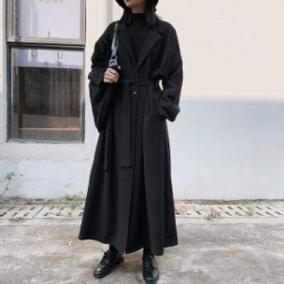 ロングコート 黒 ロングコート 韓国 超ロングコート 超ロングコート レディース オーバーサイズコート モードファッション モード系 大人