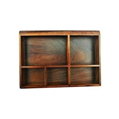 クルミの木製 5仕切り付き 収納ケース トレー オーガナイザー 収納ボックス ジュエリーケ ース アクセサリー 指輪 小物