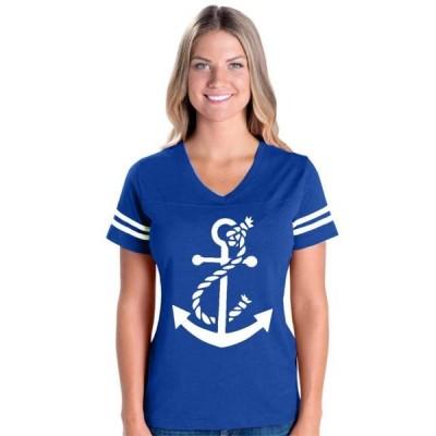 レディース 衣類 トップス Womens White Anchor Football V-Neck T-Shirt グラフィックティー